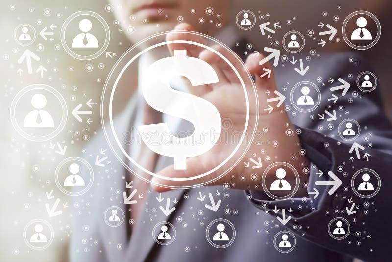 Homme d'affaires poussant le bouton virtuel avec le Web du dollar illustration stock