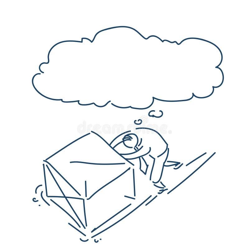 Homme d'affaires poussant le concept fonctionnant dur de grande bulle de boîte au-dessus du griffonnage blanc de croquis de fond illustration de vecteur