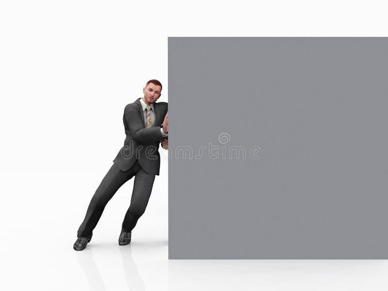 Homme d'affaires poussant le cube illustration de vecteur