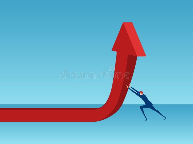 Homme d'affaires poussant le graphique rouge de flèche Concept financier de succès de croissance de diagramme illustration stock