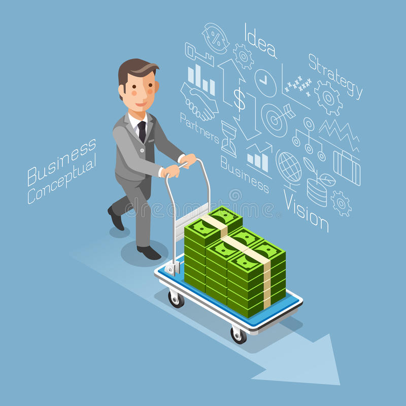 Homme d'affaires poussant un chariot avec l'argent liquide d'argent illustration libre de droits
