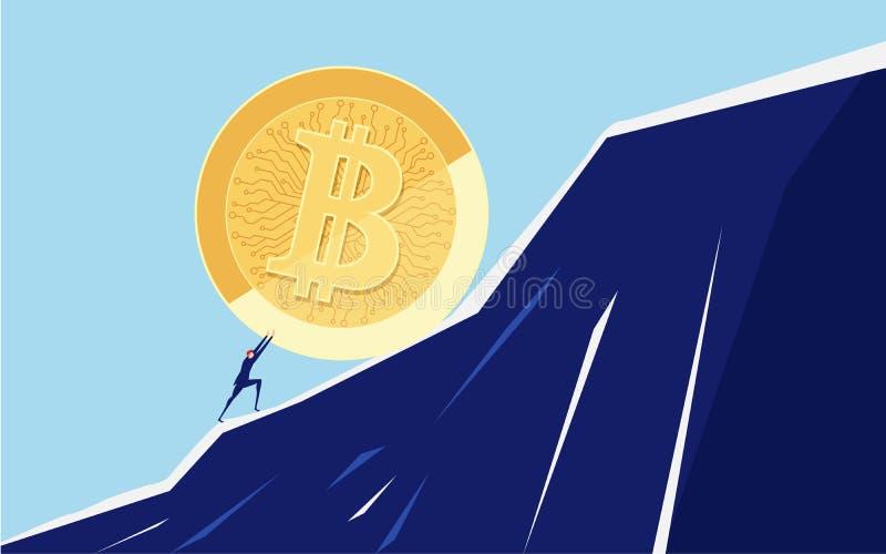 Homme d'affaires poussant un grand Bitcoin vers le haut de la colline Difficultés de crise de problème commercial et concept de c illustration stock