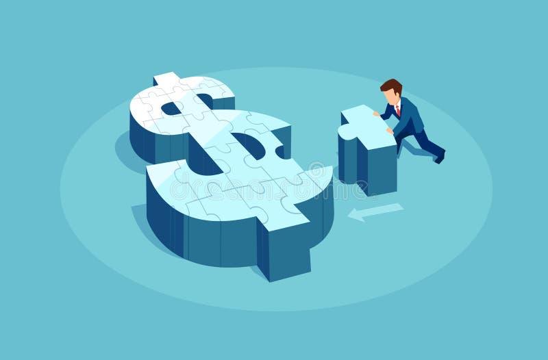 Homme d'affaires poussant un morceau de signe de puzzle du dollar ensemble illustration libre de droits
