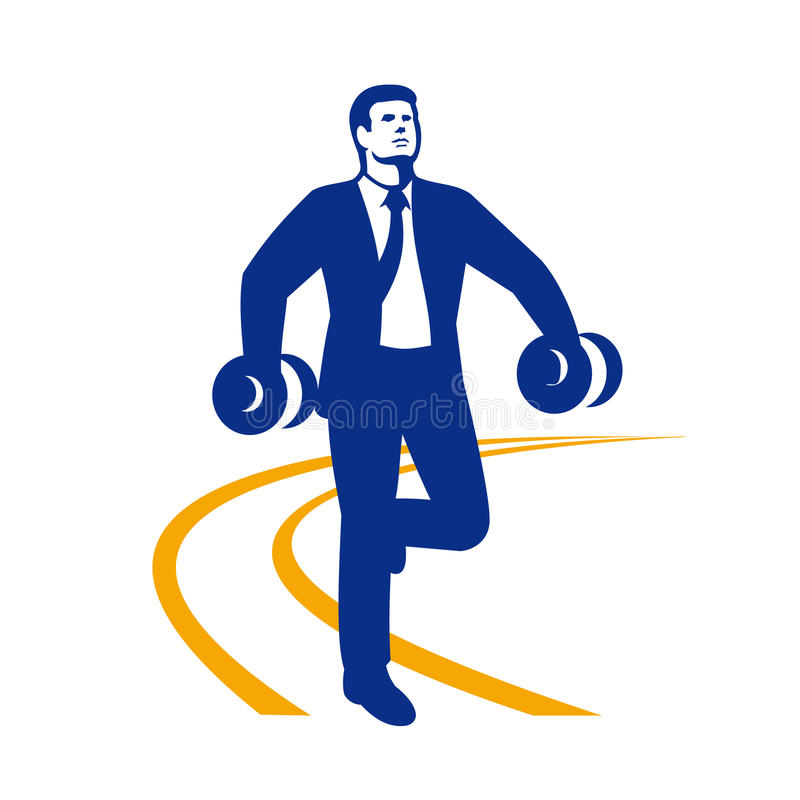 Homme d'affaires Power Walking Dumbbells rétro illustration libre de droits