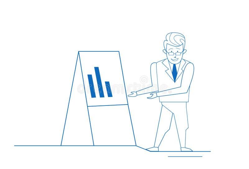 Homme d'affaires près de concept d'analytics d'homme d'affaires de tableau de conférence sur le griffonnage blanc de croquis de f illustration de vecteur
