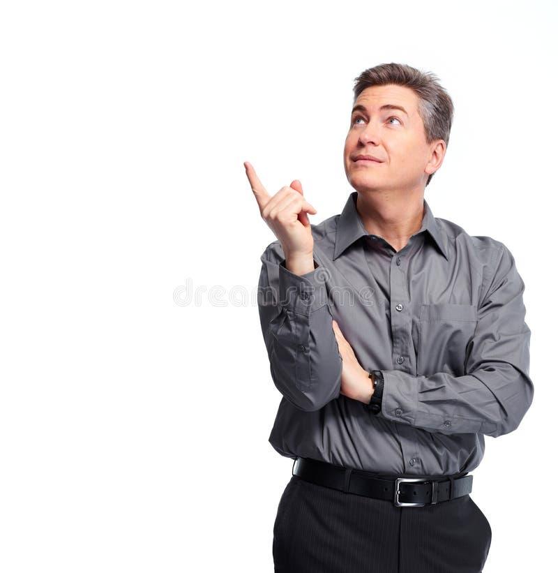 Homme d'affaires présent l'espace de copie photos stock