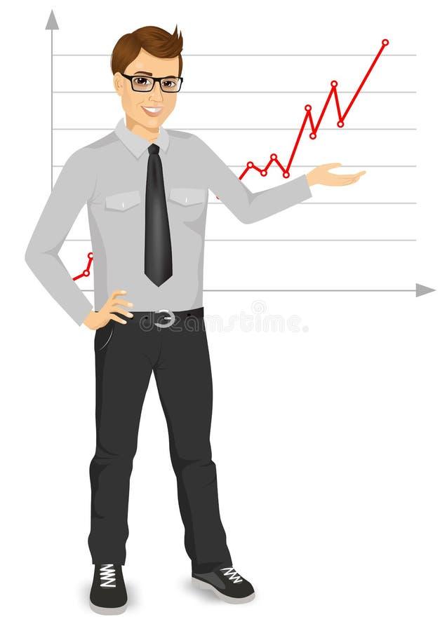 Homme d'affaires présentant l'exposé illustration stock
