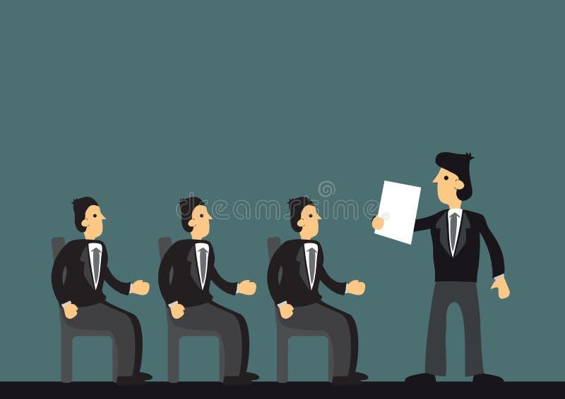 Homme d'affaires présentant un exposé à ses employés Concept de communication de culture d'entreprise, de travail d'équipe et d'a illustration de vecteur