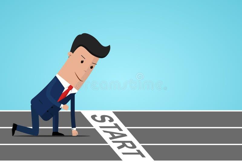 Homme d'affaires prêt à sprinter sur la ligne de départ Commencer le concept de carrière Homme d'affaires en position de départ p illustration de vecteur