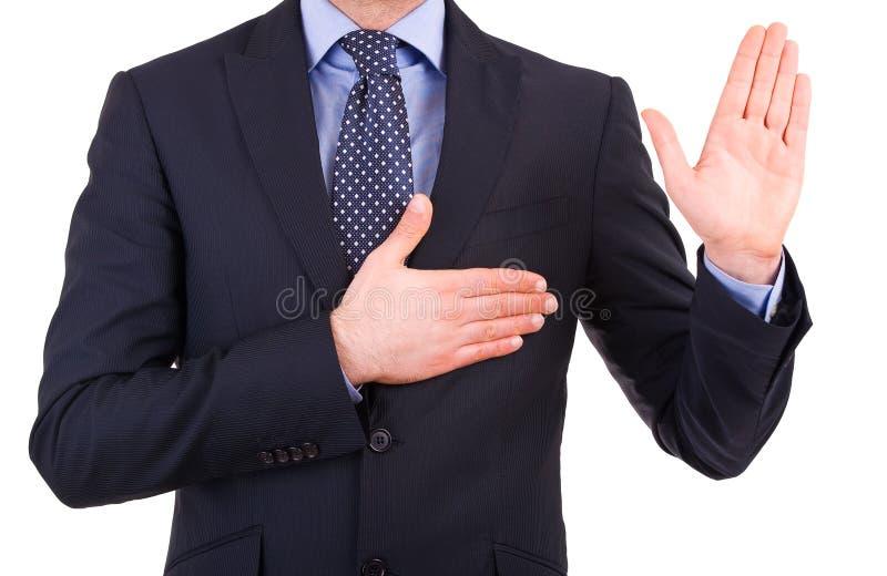 Homme d'affaires prenant le serment. photo libre de droits