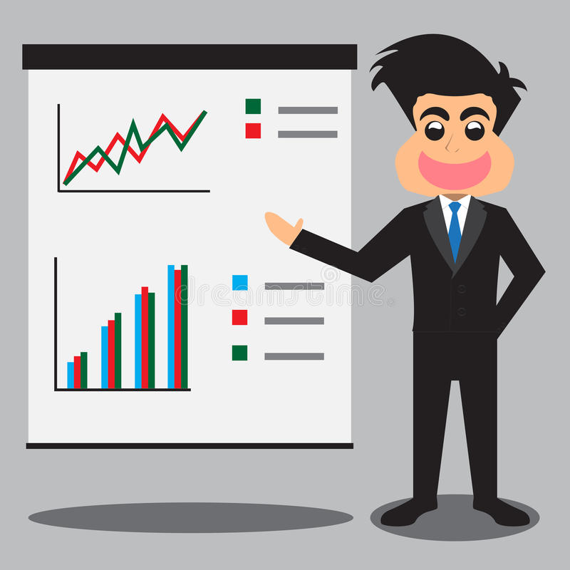 Homme d'affaires Presenting Business Profits illustration stock