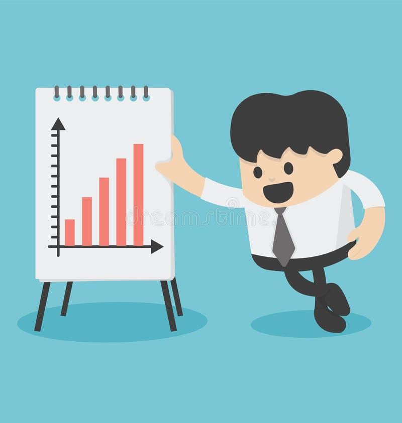 Homme d'affaires Presenting Growth Chart illustration de vecteur