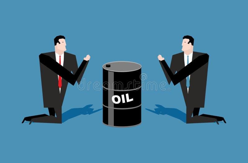 Homme d'affaires priant pour des tonneaux à huile Citations d'huile de prière Peo illustration de vecteur