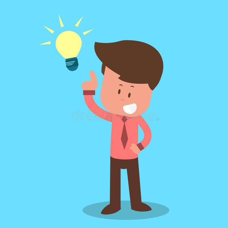 Homme d'affaires principal d'ampoule Le personnage de dessin animé ont une idée - illustration stock