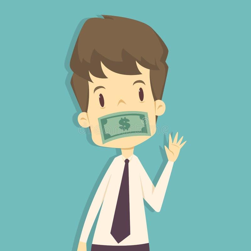 Homme d'affaires que la bouche est bâillonné avec l'argent Bande dessinée des affaires illustration de vecteur