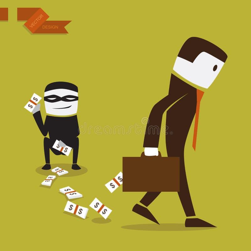 Homme d'affaires qui a perdu l'argent dans des investmen. illustration de vecteur