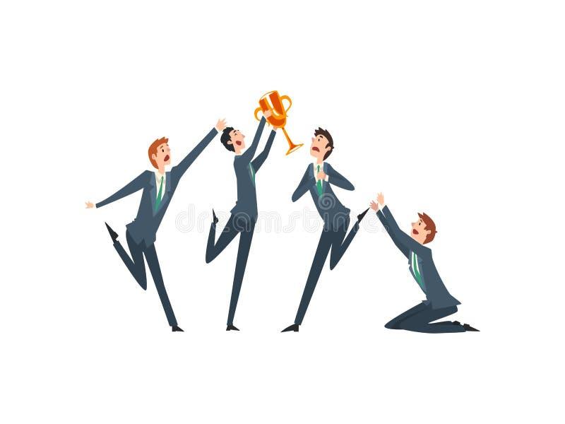 Homme d'affaires réussi avec la tasse de gagnant, Team Leader Business Competition, collègues envieux enviant le vecteur de succè illustration stock