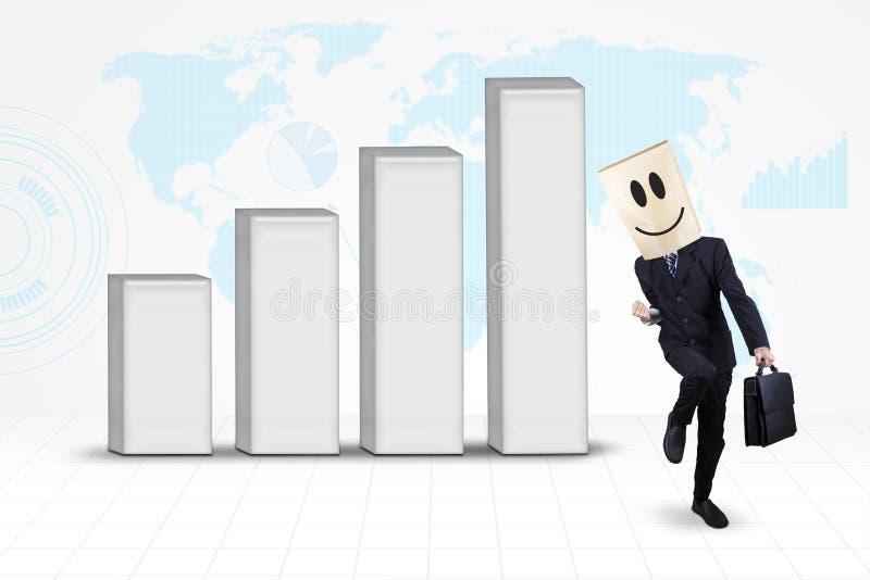 Homme d'affaires réussi avec le graphique de gestion globale illustration libre de droits