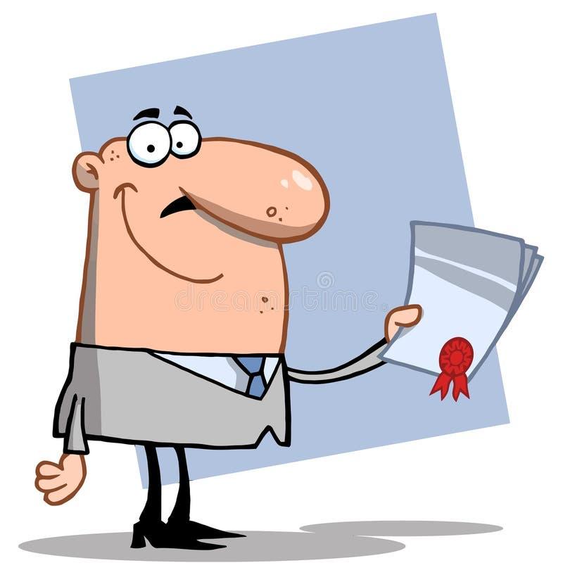 Homme d'affaires réussi avec un contrat à disposition illustration stock