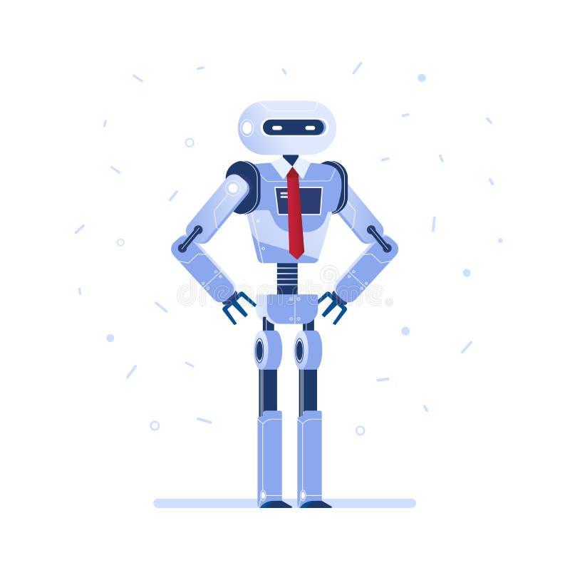 Homme d'affaires réussi de robot avec un lien illustration stock