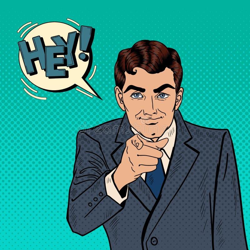 Homme d'affaires réussi Pointing Finger à vous Art de bruit illustration de vecteur
