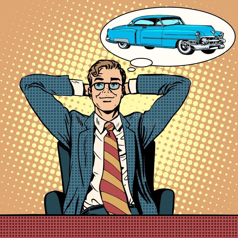Homme d'affaires rêvant d'une voiture illustration de vecteur