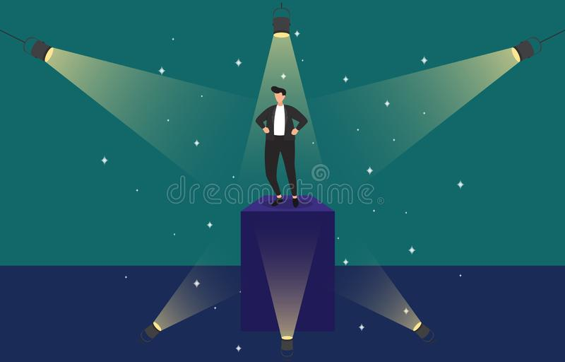 Homme d'affaires r?ussi Confident sur le podium sous l'illustration de concept d'affaires de projecteur illustration stock