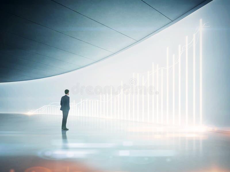 Homme d'affaires regardant le diagramme brillant sur le mur illustration de vecteur