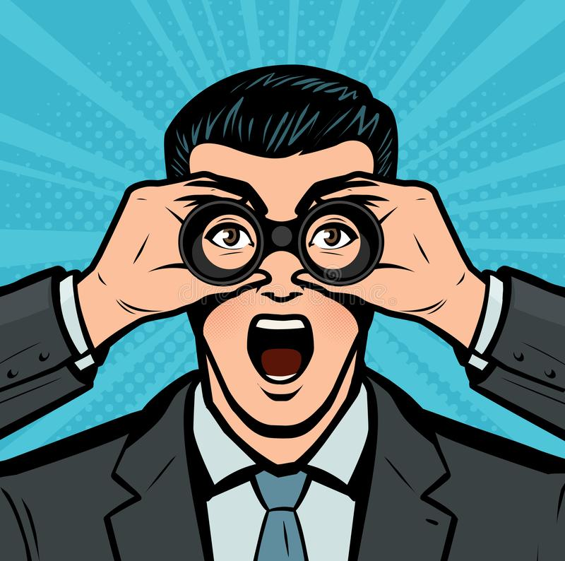 Homme d'affaires regardant par des jumelles Concept d'affaires dans style comique d'art de bruit le r?tro Illustration de vecteur illustration libre de droits