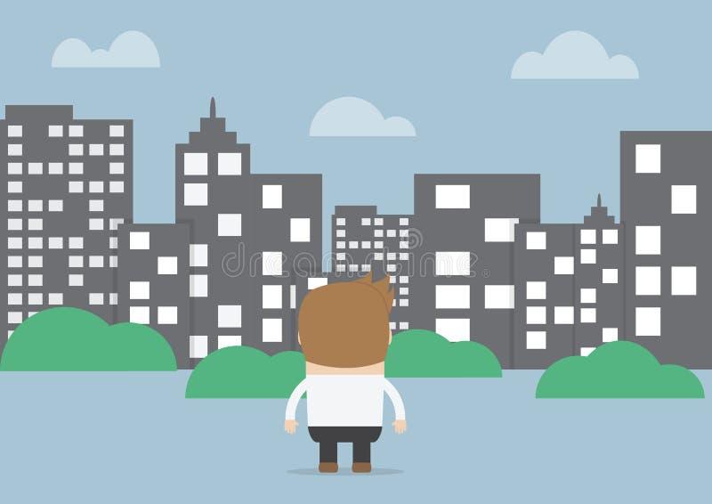 Homme d'affaires regardant pour silhouetter la ville illustration stock