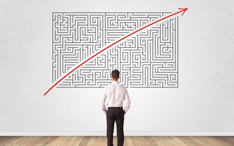 Homme d'affaires regardant ? un labyrinthe sur un mur photographie stock libre de droits