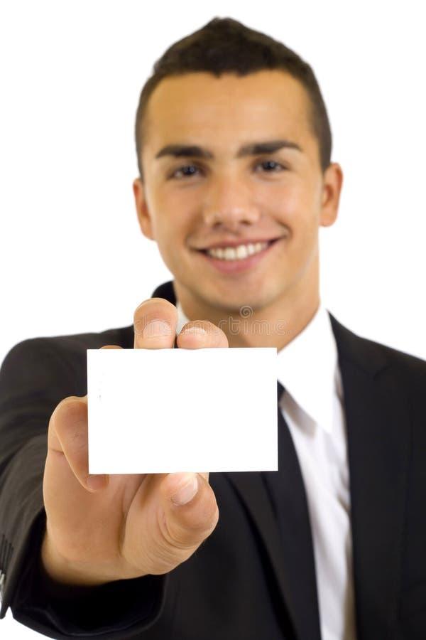Homme d'affaires remettant une carte de visite professionnelle vierge de visite photo stock