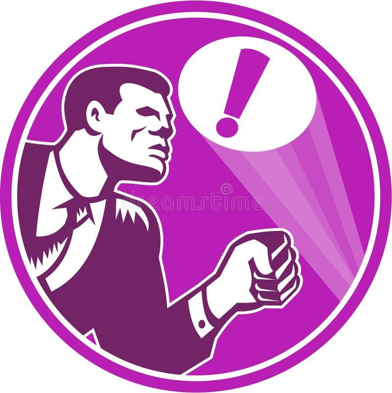Homme d'affaires Responding Emergency Signal rétro illustration stock