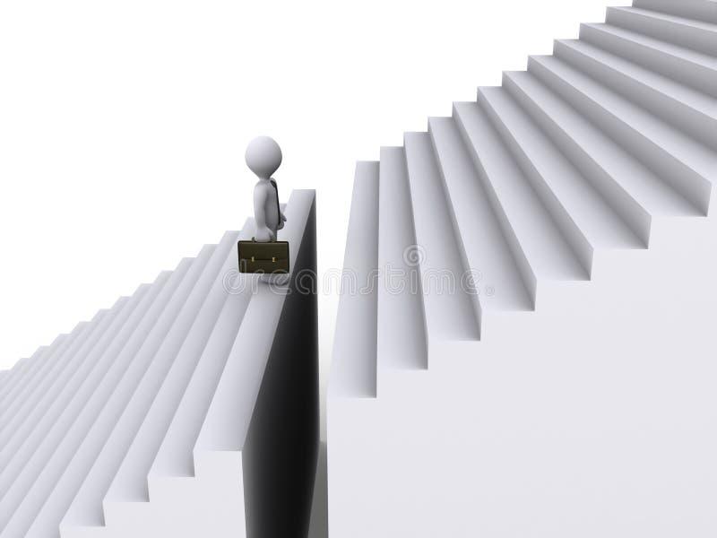 Homme d'affaires restant avant l'intervalle des escaliers illustration stock