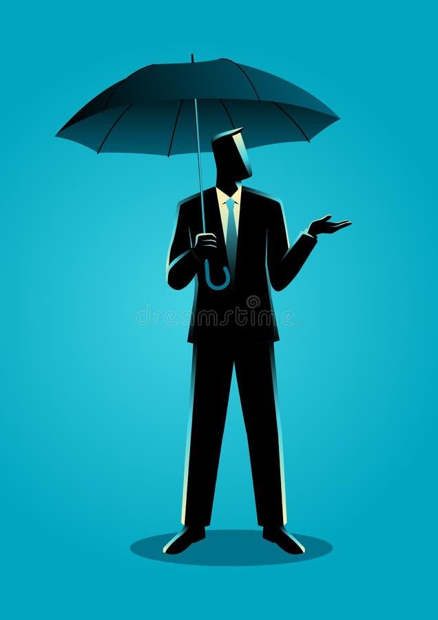 Homme d'affaires retenant un parapluie illustration de vecteur