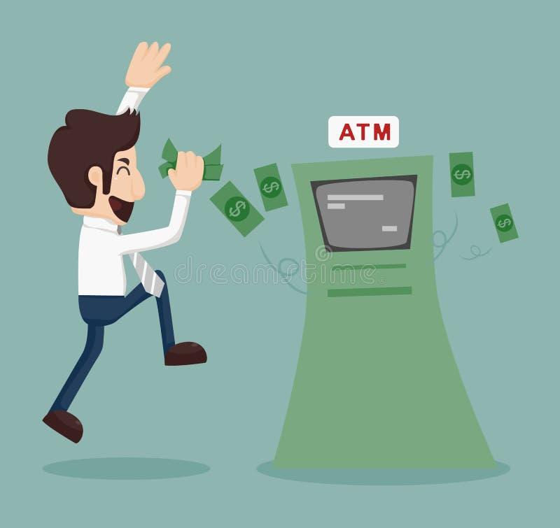 Homme d'affaires retirant l'argent de l'atmosphère illustration stock
