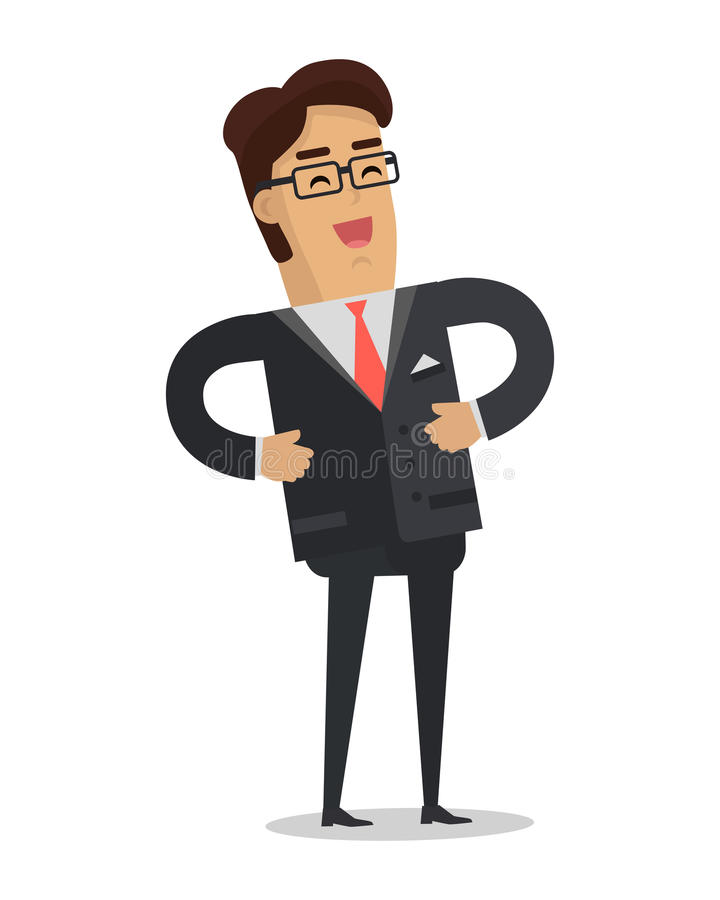 Homme d'affaires riant Vector dans la conception plate illustration libre de droits