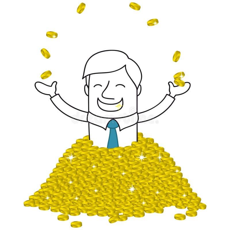 Homme d'affaires riche superbe se baignant dans des pièces d'or illustration stock