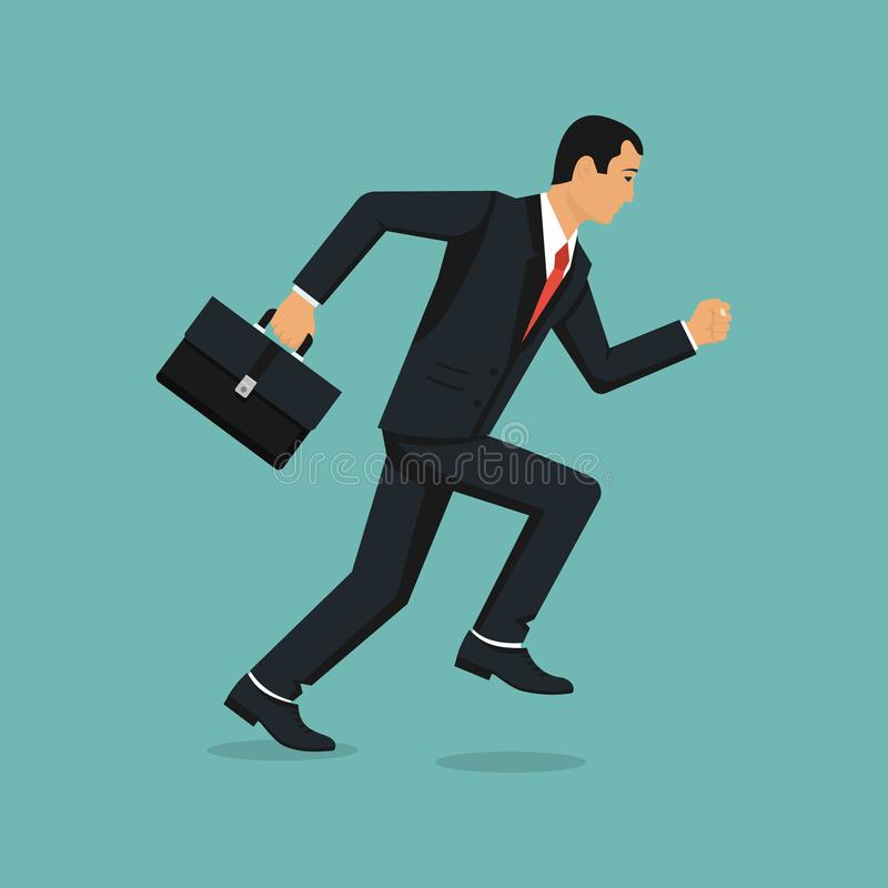 Homme d'affaires Running With Briefcase illustration de vecteur
