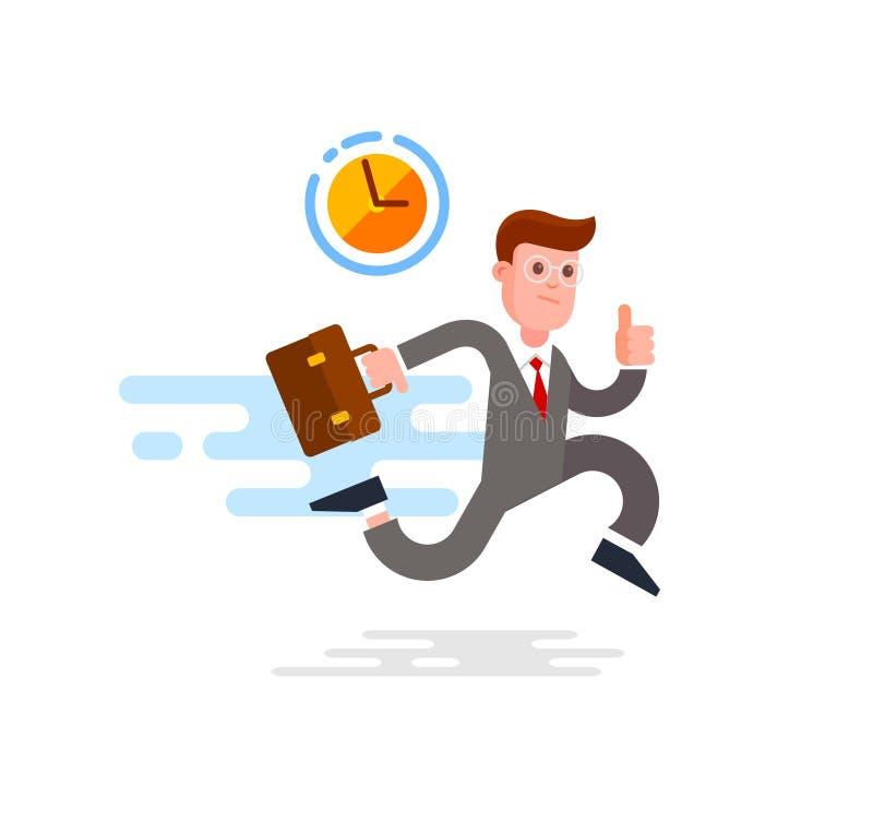 Homme d'affaires Running With Briefcase Illustration de vecteur de dessin animé illustration de vecteur
