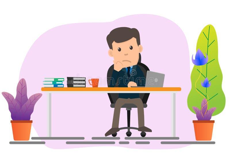 Homme d'affaires s'asseyant à son bureau et étant ennuyeux avec le travail illustration stock