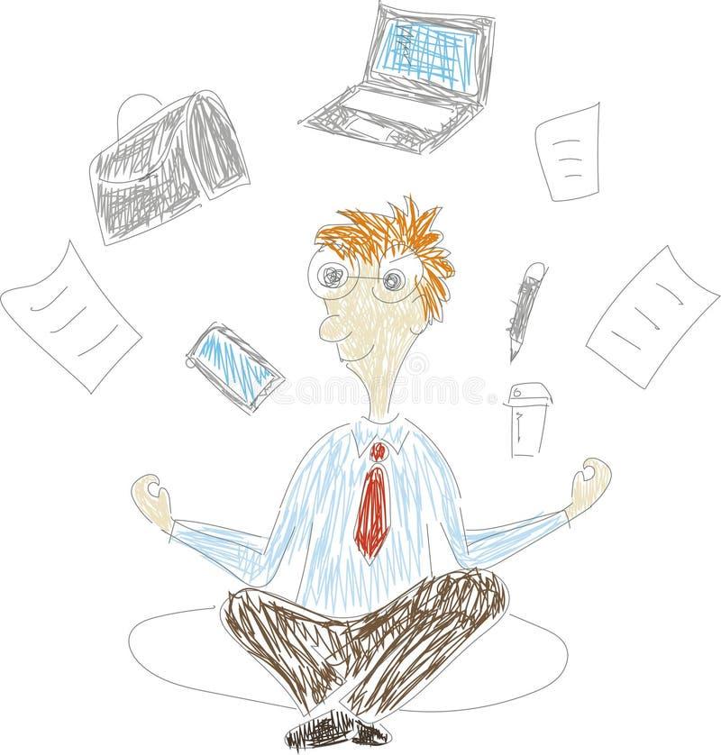 Homme d'affaires s'asseyant dans la pose de lotus de padmasana avec le vol autour des documents, téléphone, vol d'ordinateur port illustration stock