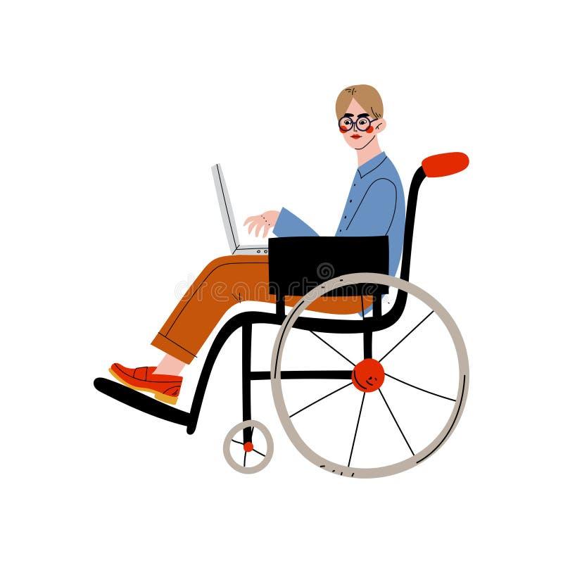 Homme d'affaires s'asseyant dans le fonctionnement de fauteuil roulant avec l'ordinateur portable, l'employé de bureau, l'entrepr illustration libre de droits