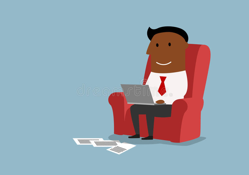 Homme d'affaires s'asseyant et travaillant avec l'ordinateur portable illustration stock
