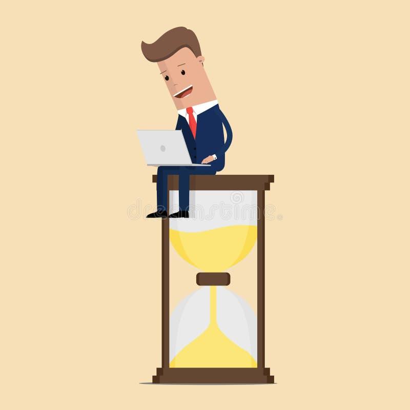 Homme d'affaires s'asseyant sur le sablier avec l'ordinateur portable Concept d'affaires de gestion du temps et de temporisation  illustration de vecteur