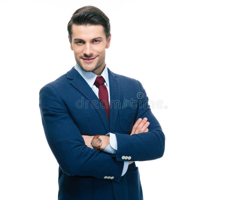 Homme d'affaires sûr avec des bras pliés photo stock