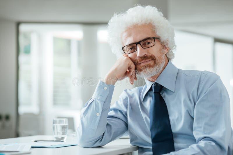 Homme d'affaires sûr posant au bureau image libre de droits