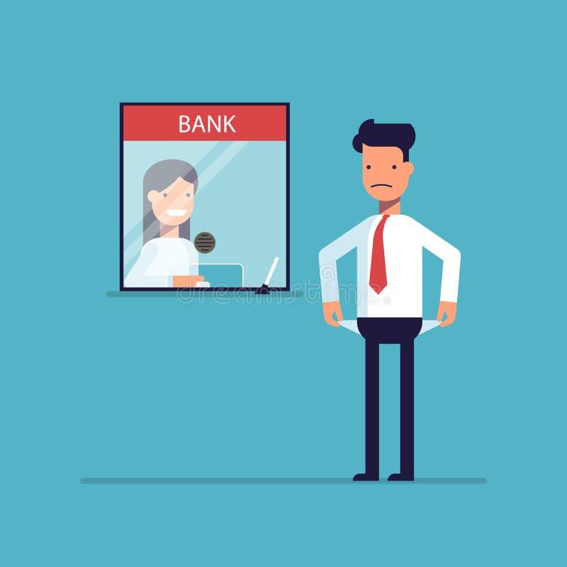 Homme d'affaires sans argent rien à payer le prêt, la dette vers la banque illustration de vecteur