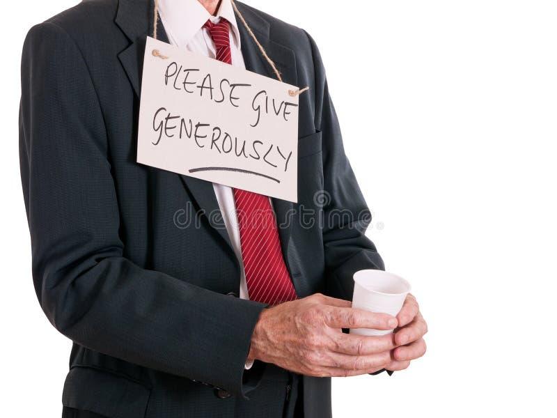 Homme d'affaires sans emploi, vers le bas sur la chance, priant Fond blanc images libres de droits