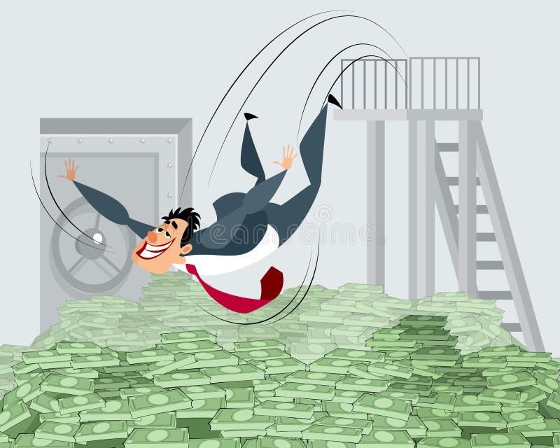 Homme d'affaires se baignant en argent illustration de vecteur